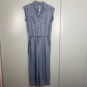 Chico's cropped chambray jumpsuit size 0 -C8